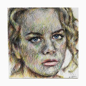 Portrait of Nicole Kidman Charcoal and Posca on Canvas by Hom Nguyen