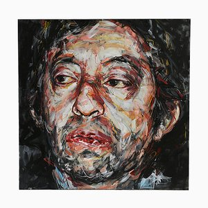 Portrait of Gainsbourg Oil on Canvas by Hom Nguyen
