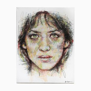Portrait of Sophie Marceau Charcoal and Posca on Canvas by Hom Nguyen