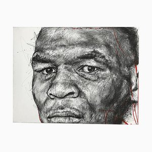 Portrait of Mike Tyson Charcoal and Posca on Canvas by Hom Nguyen