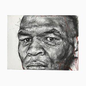 Portrait von Mike Tyson Charcoal and Posca auf Leinwand von Hom Nguyen