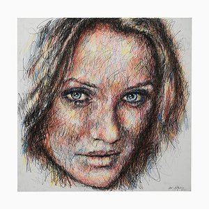 Portrait of Cameron Diaz Charcoal and Posca on Canvas by Hom Nguyen