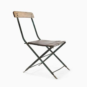 Vintage Patinated Wood and Metal Folding Chair
