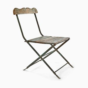 Patinated Wood and Metal Folding Chair