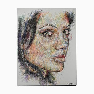 Portrait of Angelina Jolie Pen and Posca on Canvas by Hom Nguyen