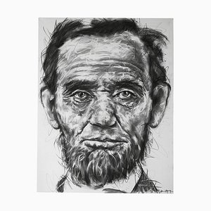 Portrait of Abraham Lincoln Charcoal on Canvas by Hom Nguyen