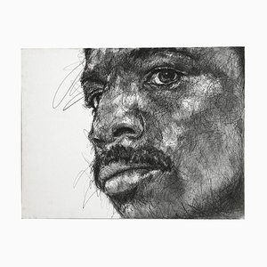 Portrait of Apollo Creed Charcoal and Posca on Canvas by Hom Nguyen