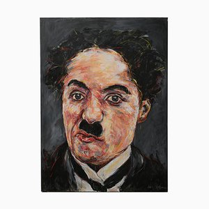 Portrait of Charlie Chaplin Oil on Canvas by Hom Nguyen