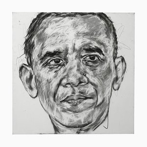 Portrait of Obama Charcoal on Canvas by Hom Nguyen