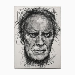 Portrait of Clint Eastwood Charcoal on Canvas by Hom Nguyen
