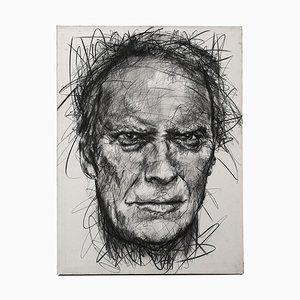 Portrait of Clint Eastwood Charcoal on Canvas von Hom Nguyen