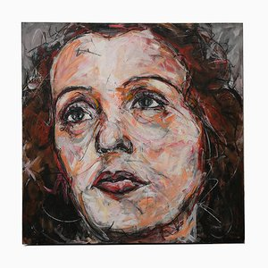 Portrait of Edith Piaf Oil on Canvas by Hom Nguyen