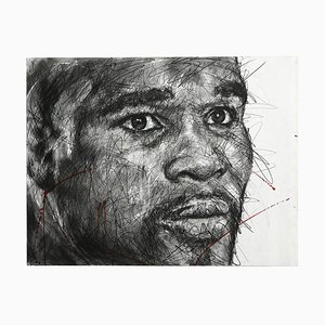 Portrait of Floyd Mayweather Charcoal and Posca on Canvas by Hom Nguyen