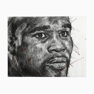 Portrait von Floyd Mayweather Charcoal und Posca auf Leinwand von Hom Nguyen
