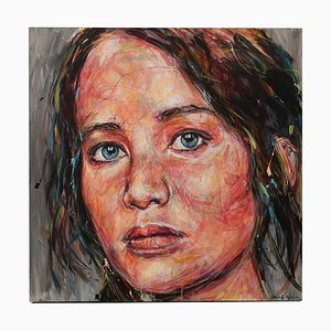 Portrait of Jennifer Lawrence Oil on Canvas by Hom Nguyen