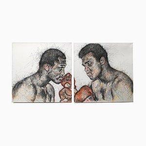 Porträt von Joe Frazier und Muhammad Ali Kohle und Posca auf Leinwand von Hom Nguyen