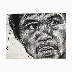 Portrait von Manny Pacquiao Charcoal and Posca auf Leinwand von Hom Nguyen
