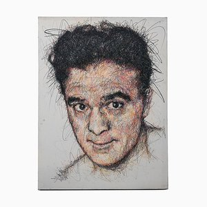 Portrait Marcel Cerdan Charcoal and Posca on Canvas by Hom Nguyen