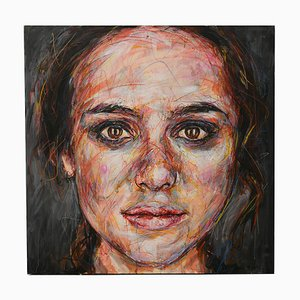 Ritratto di Keira Knightley Oil on Canvas by Hom Nguyen