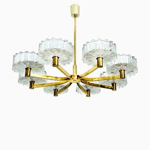 Icicle Glass Shades and Brass Chandelier in the Style of Kalmar, 1960s