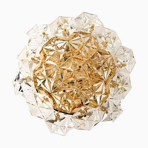 Deutsche Vergoldete Kristallglas Deckenlampe von Kinkeldey, 1970er