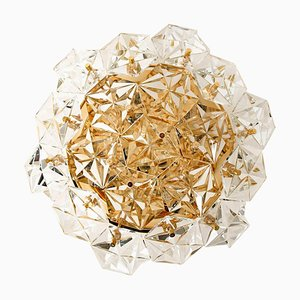 German Gold-Plated Crystal Glass Flush Mount by Kinkeldey, 1970s