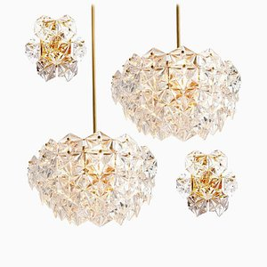 German Faceted Crystal and Gilt Metal Light Fixtures by Kinkeldey, 1960s, Set of 4