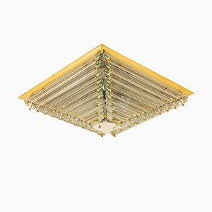 Italian Gold-Plated Piramide Flush Mounts by Venini, 1970s, Set of 3