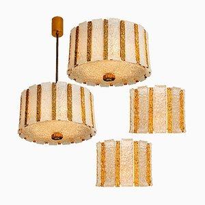 Austrian Gold-Plated Bronze Drum Light Fixtures, 1960s, Set of 7