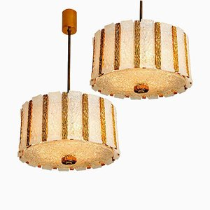 Austrian Gold-Plated Bronze Drum Light Fixtures, 1960s, Set of 2