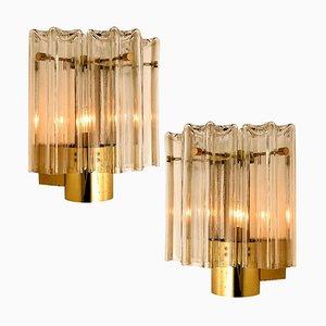 Österreichische Wandlampen aus Klarglas & Messing von JT Kalmar, 1960er, 2er Set