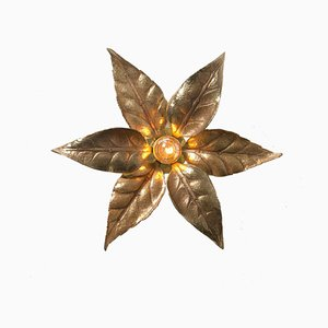 Brass Flowers Wall Light by Massive Lighting in the Style of Willy Daro, 1970s