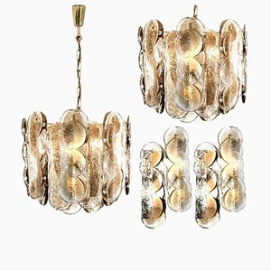 Austrian Citrus Swirl Smoked Glass Light Fixtures by Kalmar Lighting, 1969, Set of 4