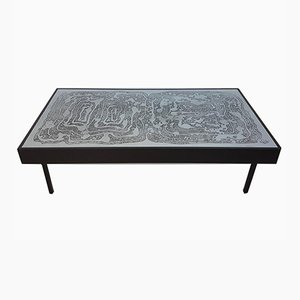 Acid Etched Vintage Coffee Table by Bernhard Rohne Aluminum, 1970s