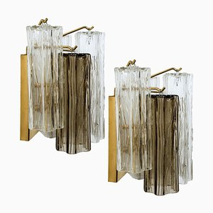Austrian Smoked and Clear Glass Wall Lights by J.T. Kalmar, 1960s, Set of 2