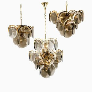 Large Smoked Glass and Brass Chandeliers in the Style of Vistosi, 1970s, Set of 3
