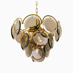 Italian Smoked Glass and Brass Chandelier Attributed to Vistosi, 1970s