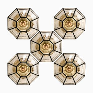 Iron and Clear Glass Flush Mount or Wall Light by Glashütte Limburg, 1960s