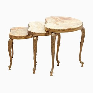 Italian Onyx & Brass Kidney Shaped Coffee Nesting Tables, 1970s