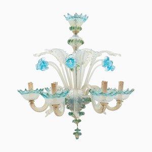 Italienischer romantischer Murano Blue Opalglas Kronleuchter von Compagnia Di Venezia E Murano (CVM), 1950er
