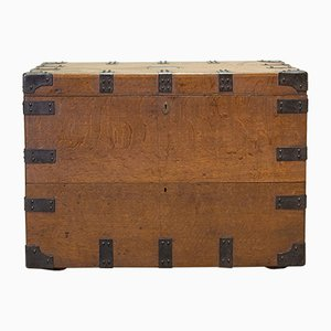 Antique English Oak and Iron Silver Chest by Elkington and Co, 1880s