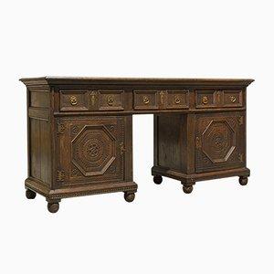 Antique Georgian English Oak Pedestal Desk, 1800s