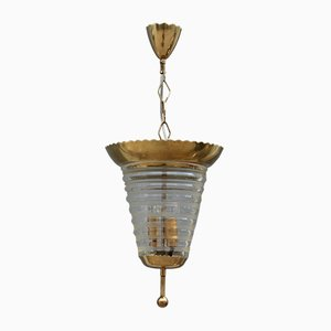 Italian Round Brass and Murano Glass Ceiling Lamp from Seguso, 1950s