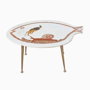 Italian Fish-Shaped Marble Top and Brass Coffee Table, 1950s
