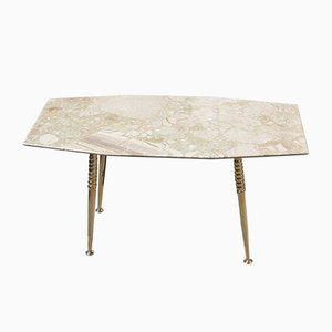 Italian Octagonal Marble and Brass Coffee Table, 1950s