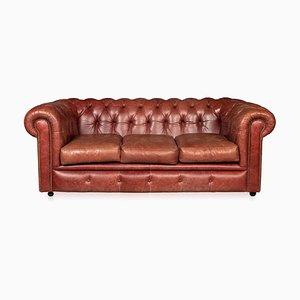 Sofá Chesterfield Mid-Century de cuero con asiento abatible