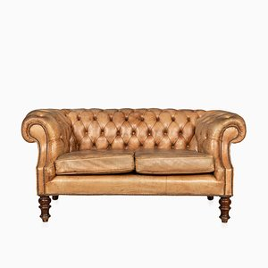 Mid-Century Leather Chesterfield Sofa with Button Down Seat