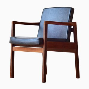 Mid-Century Danish Teak and Leatherette Armchair, 1960s