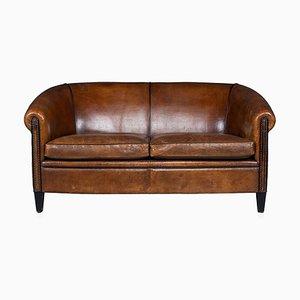 Niederländisches Vintage 2-Sitzer Sofa aus Schaffell Leder, 1970er