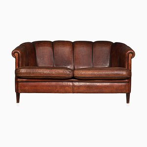 Vintage 2-Seater Sheepskin Leather Scallop Back Sofa, 1970s